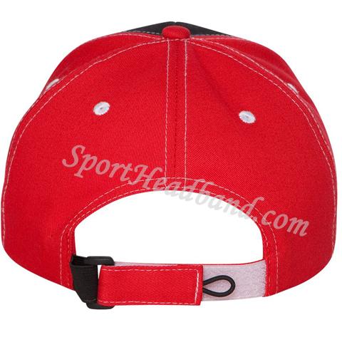 Red / Black Tri-Color 100% Cotton Cap back view