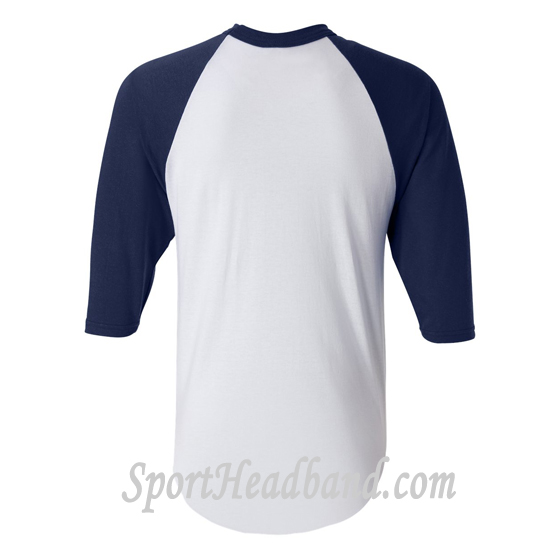 Three-Quarter Red Sleeve White Baseball Jersey back view