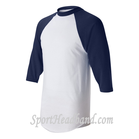 Three-Quarter Red Sleeve White Baseball Jersey side view